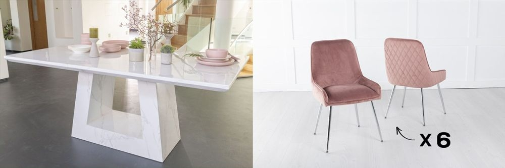 Urban Deco Milan 200cm White Marble Dining Table and 6 Hamilton Pink Chairs
