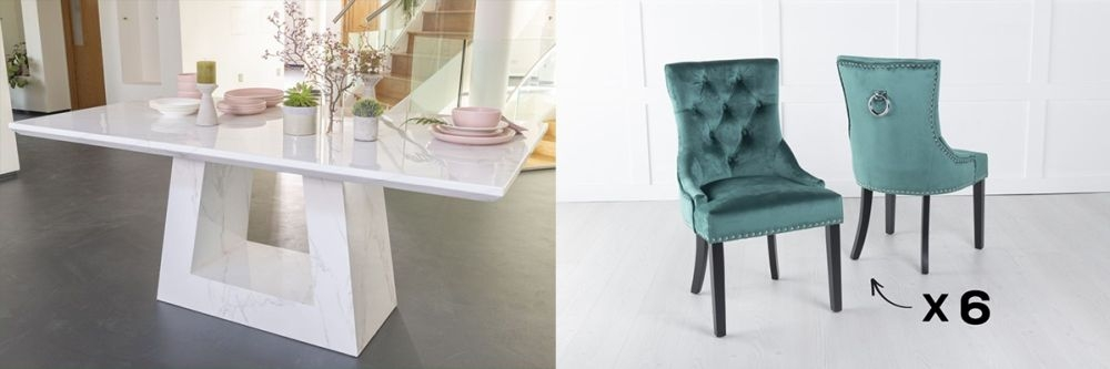 Urban Deco Milan 160cm White Marble Dining Table and 6 Knockerback Green Chairs