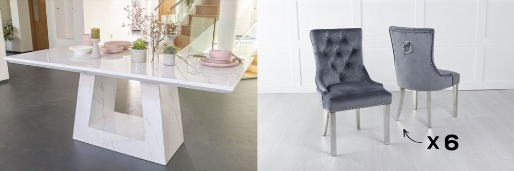 Urban Deco Milan 160cm White Marble Dining Table and 6 Knockerback Grey Chairs with Chrome Legs
