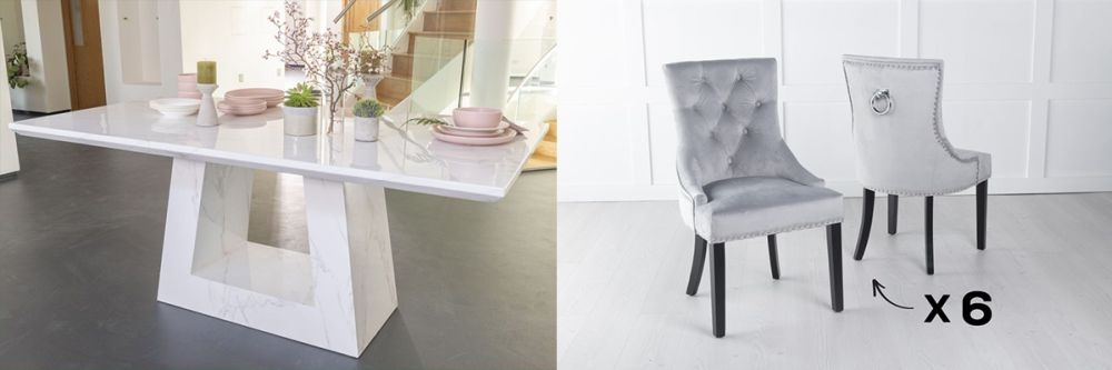 Urban Deco Milan 160cm White Marble Dining Table and 6 Knockerback Light Grey Chairs