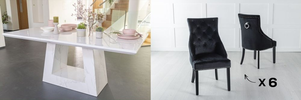 Urban Deco Milan 160cm White Marble Dining Table and 6 Large Knockerback Black Chairs