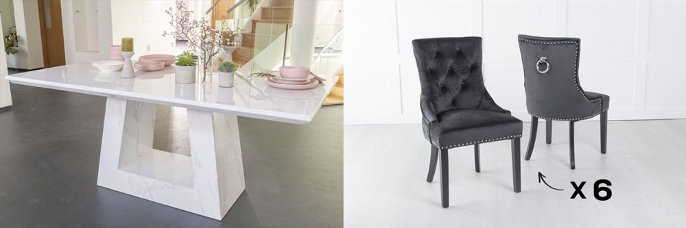 Urban Deco Milan 180cm White Marble Dining Table and 6 Knockerback Black Chairs