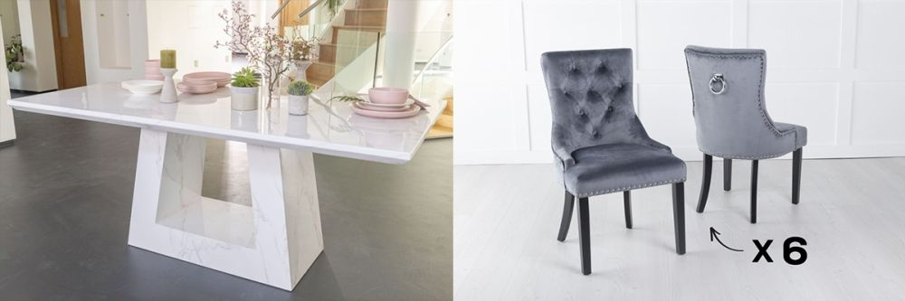 Product photograph showing Urban Deco Milan 180cm White Marble Dining Table And 6 Knockerback Grey Chairs