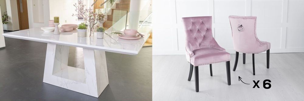 Product photograph showing Urban Deco Milan 180cm White Marble Dining Table And 6 Knockerback Pink Chairs