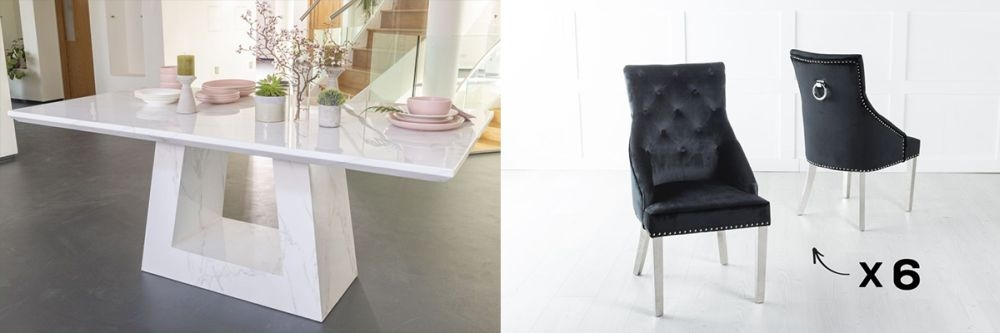 Urban Deco Milan 180cm White Marble Dining Table and 6 Large Knockerback Black Chairs with Chrome Legs