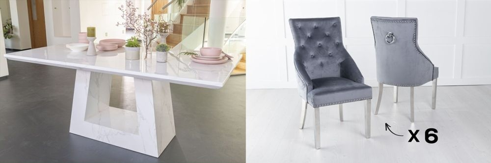 Urban Deco Milan 180cm White Marble Dining Table and 6 Large Knockerback Grey Chairs with Chrome Legs