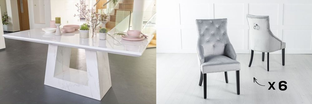 Urban Deco Milan 180cm White Marble Dining Table and 6 Large Knockerback Light Grey Chairs