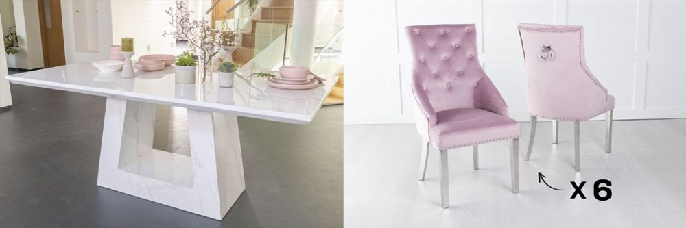 Urban Deco Milan 180cm White Marble Dining Table and 6 Large Knockerback Pink Chairs with Chrome Legs