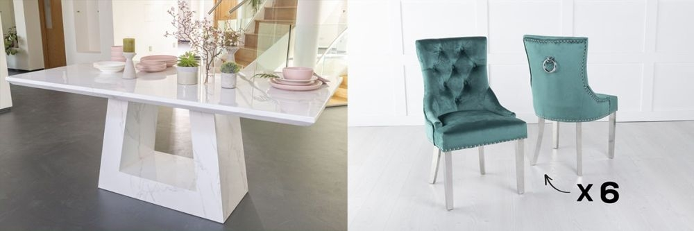 Urban Deco Milan 200cm White Marble Dining Table and 6 Knockerback Green Chairs with Chrome Legs