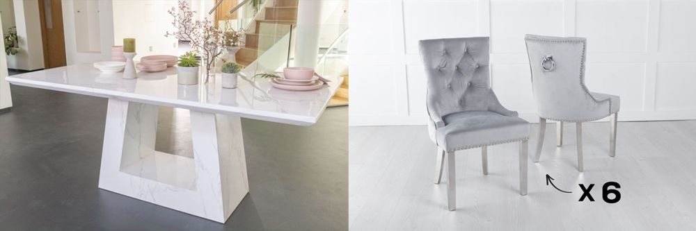 Urban Deco Milan 200cm White Marble Dining Table and 6 Knockerback Light Grey Chairs with Chrome Legs
