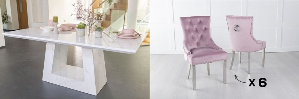 Urban Deco Milan 200cm White Marble Dining Table and 6 Knockerback Pink Chairs with Chrome Legs