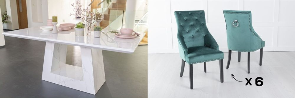 Urban Deco Milan 200cm White Marble Dining Table and 6 Large Knockerback Green Chairs