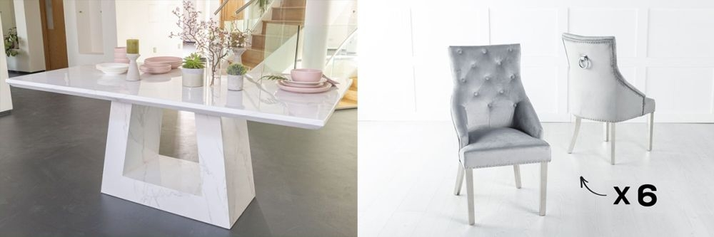 Urban Deco Milan 200cm White Marble Dining Table and 6 Large Knockerback Light Grey Chairs with Chrome Legs