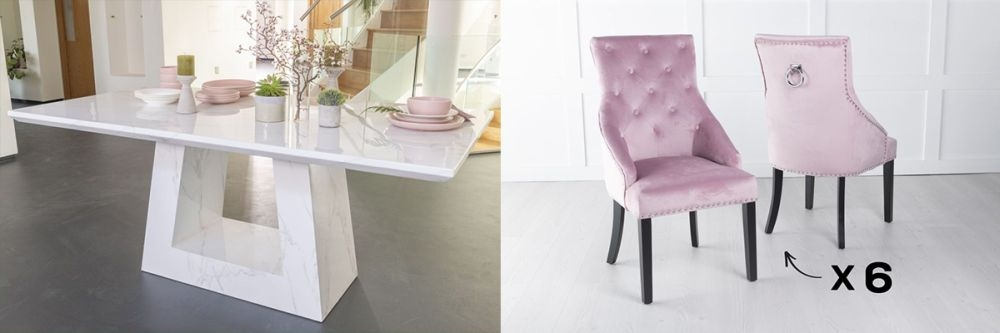 Urban Deco Milan 200cm White Marble Dining Table and 6 Large Knockerback Pink Chairs