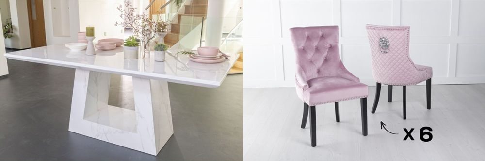 Urban Deco Milan 160cm White Marble Dining Table and 6 Lion Head Pink Chairs