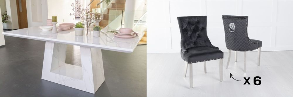 Urban Deco Milan 180cm White Marble Dining Table and 6 Lion Head Black Chairs with Chrome Legs