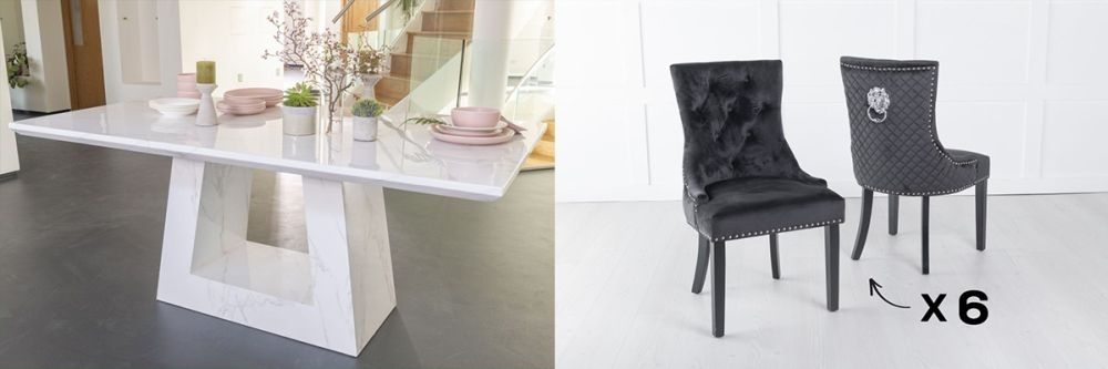 Urban Deco Milan 180cm White Marble Dining Table and 6 Lion Head Black Chairs