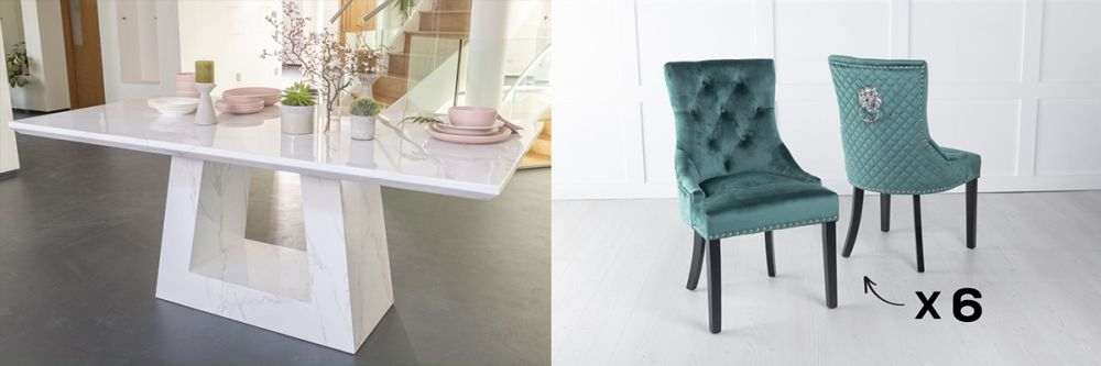 Urban Deco Milan 180cm White Marble Dining Table and 6 Lion Head Green Chairs