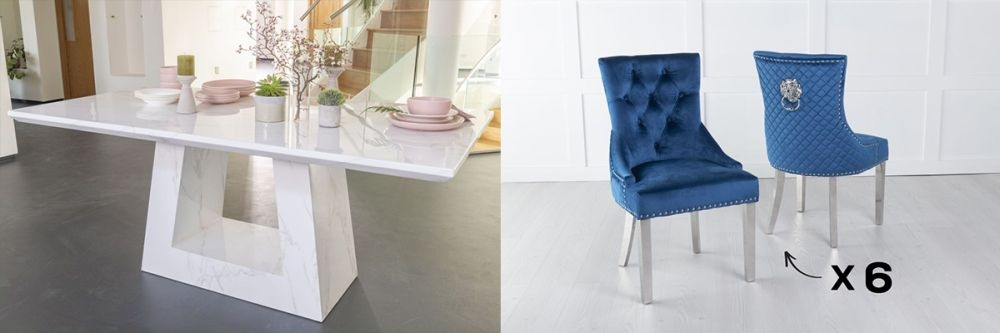 Urban Deco Milan 200cm White Marble Dining Table and 6 Lion Head Blue Chairs with Chrome Legs