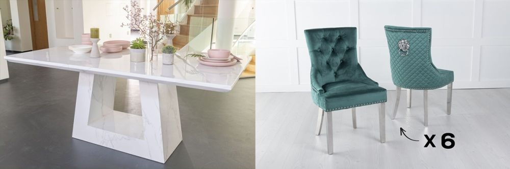Urban Deco Milan 200cm White Marble Dining Table and 6 Lion Head Green Chairs with Chrome Legs