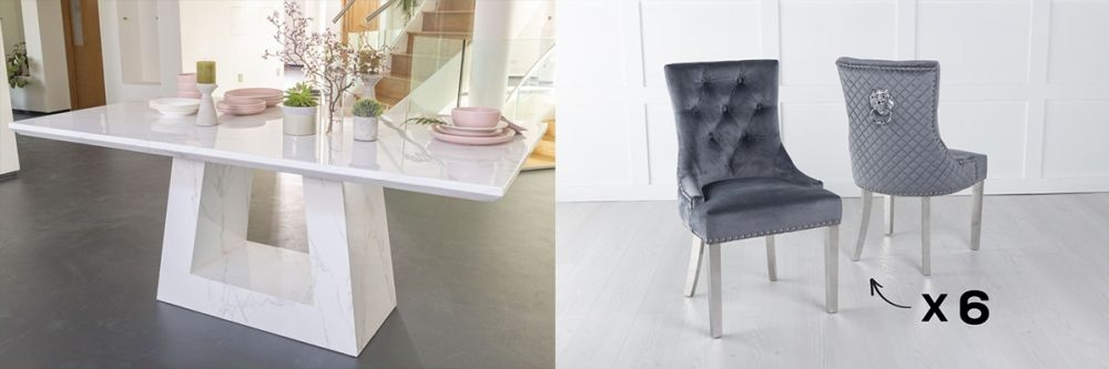Urban Deco Milan 200cm White Marble Dining Table and 6 Lion Head Grey Chairs with Chrome Legs