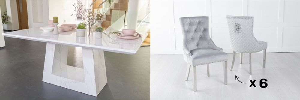 Urban Deco Milan 200cm White Marble Dining Table and 6 Lion Head Light Grey Chairs with Chrome Legs