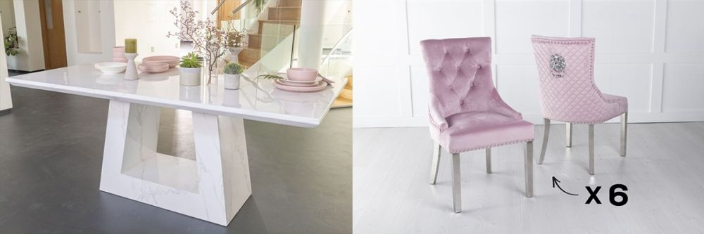 Urban Deco Milan 200cm White Marble Dining Table and 6 Lion Head Pink Chairs with Chrome Legs