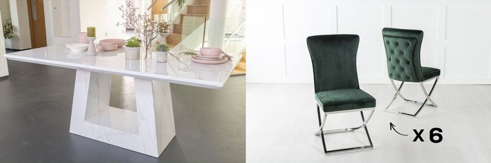 Urban Deco Milan 160cm White Marble Dining Table and 6 Lyon Green Chairs