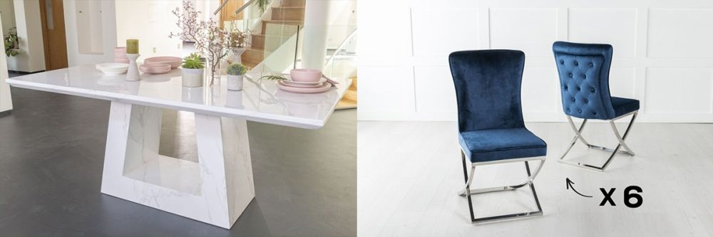 Urban Deco Milan 200cm White Marble Dining Table and 6 Lyon Blue Chairs