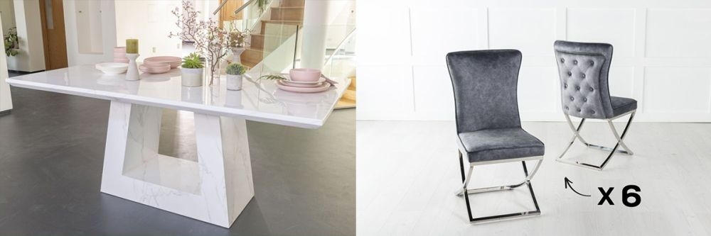 Urban Deco Milan 200cm White Marble Dining Table and 6 Lyon Grey Chairs