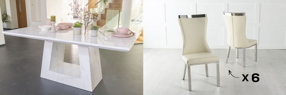 Urban Deco Milan 160cm White Marble Dining Table and 6 Maison White Chairs