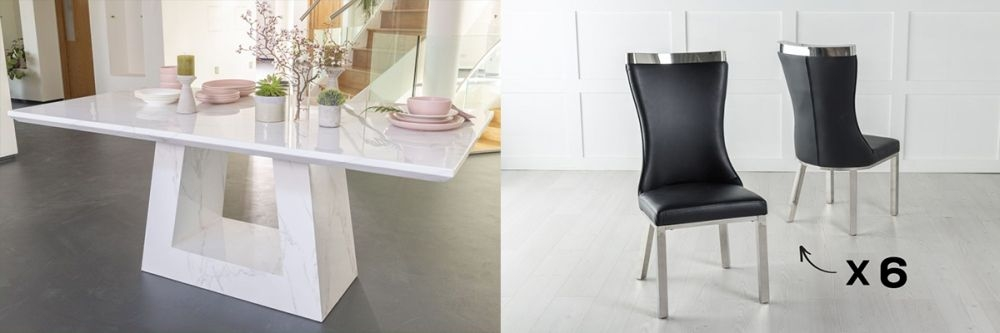 Urban Deco Milan 180cm White Marble Dining Table and 6 Maison Black Chairs