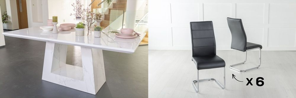 Urban Deco Milan 160cm White Marble Dining Table and 6 Malibu Black Chairs