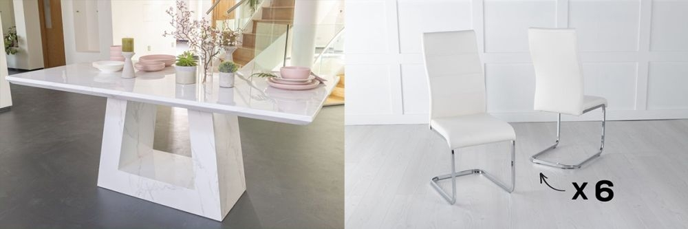 Urban Deco Milan 160cm White Marble Dining Table and 6 Malibu Cream Chairs