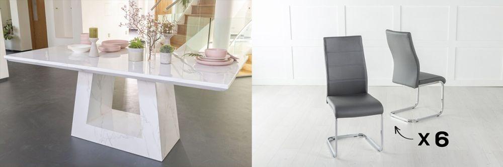 Urban Deco Milan 160cm White Marble Dining Table and 6 Malibu Dark Grey Chairs