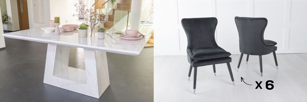 Urban Deco Milan 160cm White Marble Dining Table and 6 Mason Black Chairs