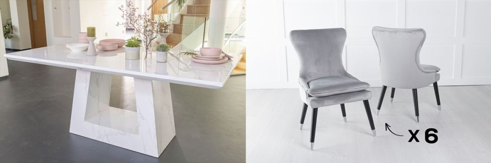 Urban Deco Milan 160cm White Marble Dining Table and 6 Mason Light Grey Chairs