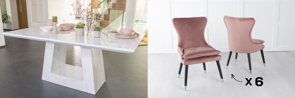 Urban Deco Milan 160cm White Marble Dining Table and 6 Mason Pink Chairs
