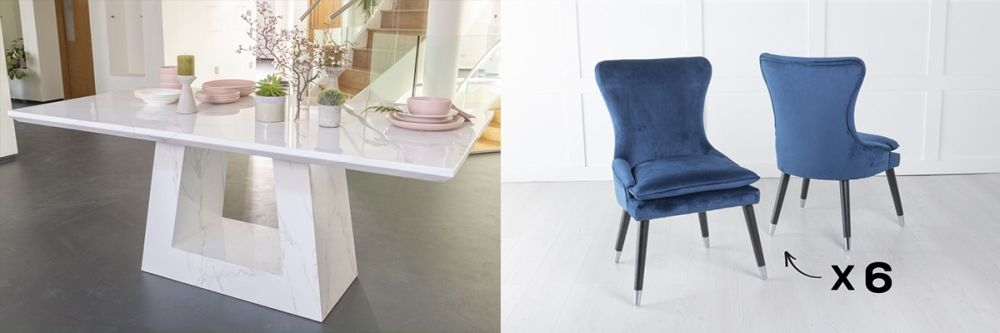 Urban Deco Milan 200cm White Marble Dining Table and 6 Mason Blue Chairs