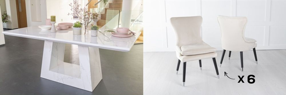 Urban Deco Milan 200cm White Marble Dining Table and 6 Mason Champgne Chairs