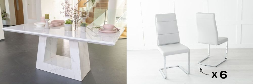 Urban Deco Milan 160cm White Marble Dining Table and 6 Miami Light Grey Chairs