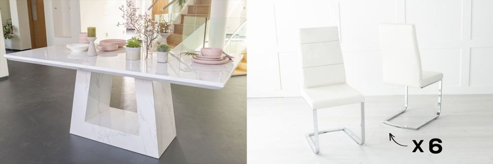 Urban Deco Milan 180cm White Marble Dining Table and 6 Miami Cream Chairs