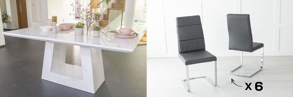 Urban Deco Milan 180cm White Marble Dining Table and 6 Miami Dark Grey Chairs