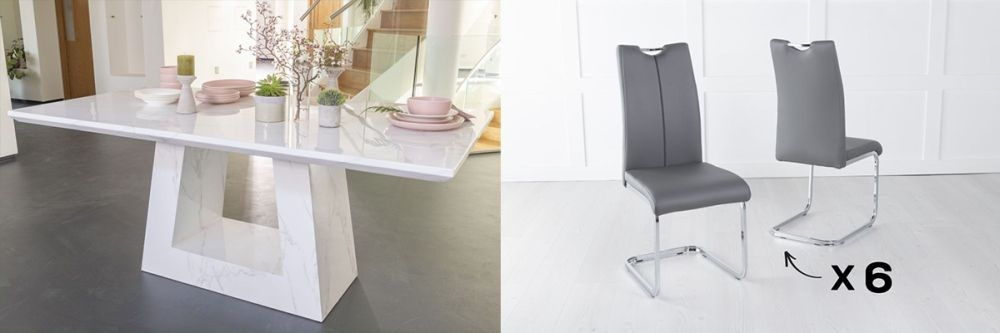 Urban Deco Milan 180cm White Marble Dining Table and 6 Nikko Dark Grey Chairs