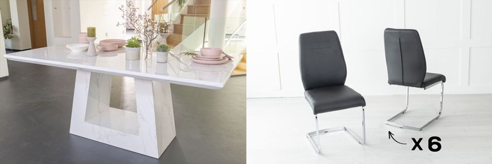 Urban Deco Milan 160cm White Marble Dining Table and 6 Oslo Black Chairs