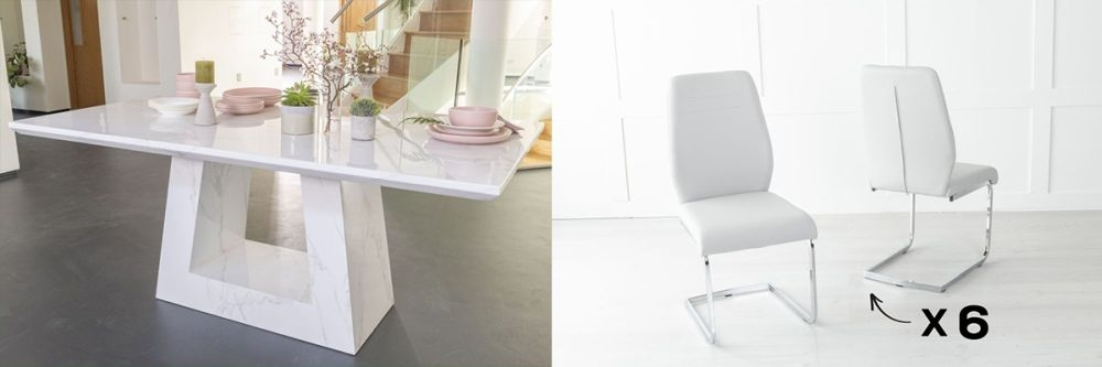 Urban Deco Milan 160cm White Marble Dining Table and 6 Oslo Light Grey Chairs