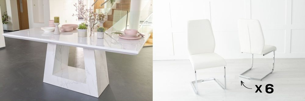 Urban Deco Milan 180cm White Marble Dining Table and 6 Oslo Cream Chairs