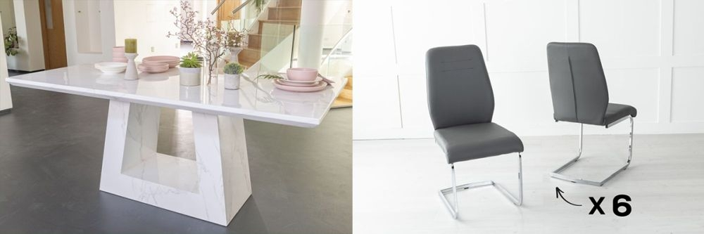 Urban Deco Milan 200cm White Marble Dining Table and 6 Oslo Dark Grey Chairs