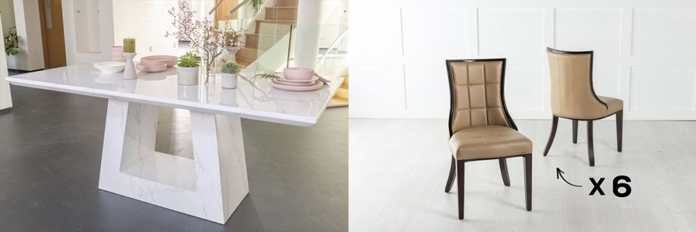 Product photograph showing Urban Deco Milan 160cm White Marble Dining Table And 6 Paris Biege Chairs