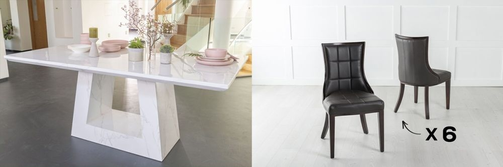 Urban Deco Milan 160cm White Marble Dining Table and 6 Paris Black Chairs